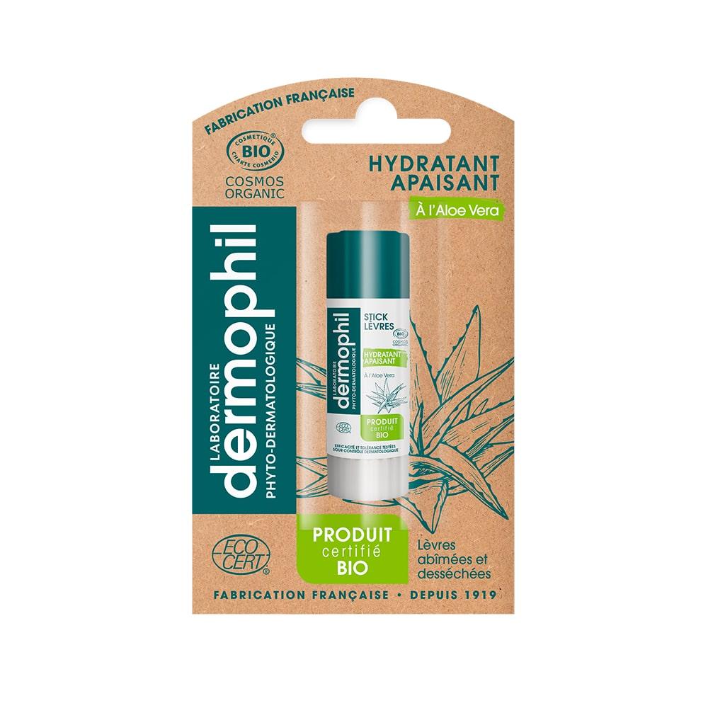 Produits vendus en grande surface - Baume à Lèvres Hydratant - Lèvres Sèches - Stick Lèvres BIO Aloe Vera - Dermophil