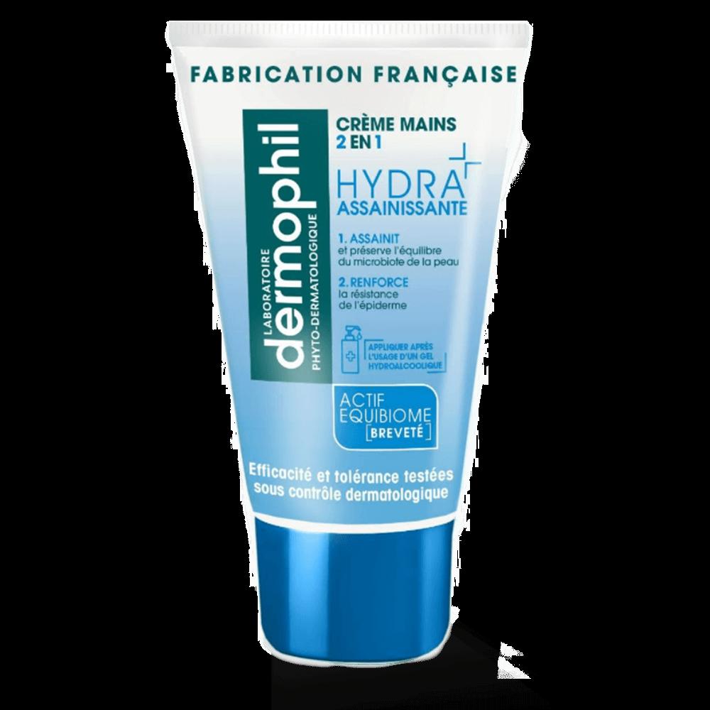 Produits vendus en grande surface - Crème Mains Hydratante / Mains Sèches - Crème mains 2 en 1 Hydra Assainissante - Dermophil